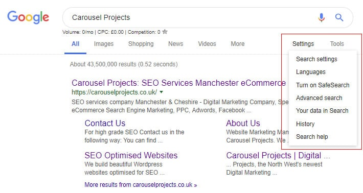 Number Of URLs Displayed Search Setting in Google - Carousel Projects